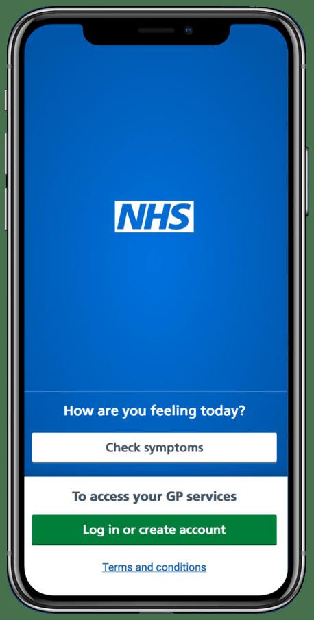 NHS App displayed on mobile phone